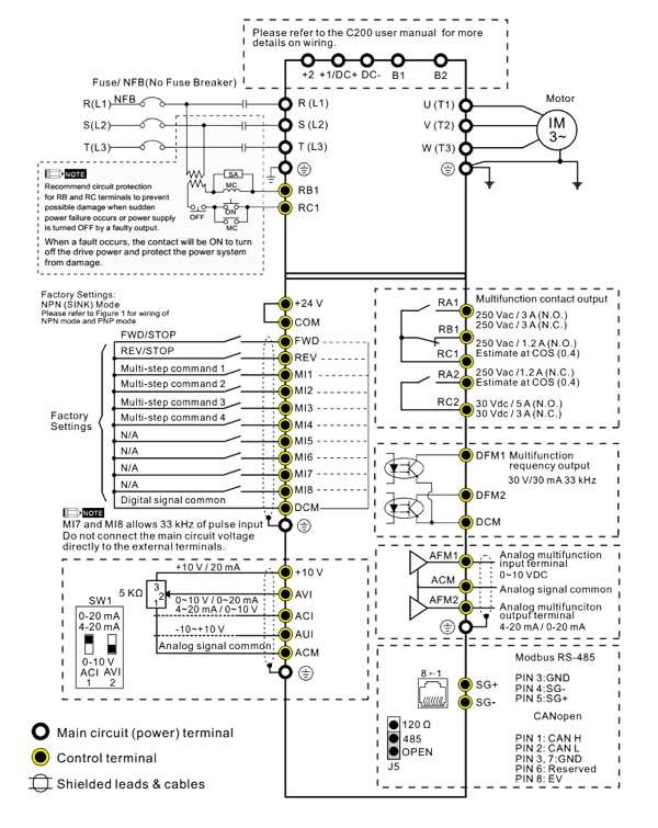 نقشه اتصال اینورتر Delta C200 سه فاز
